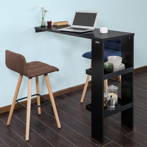 SoBuy Bartisch Küchentisch Wandtisch mit 2 Regalfächern BHT ca.: 120x106x45cm FWT55-SCH