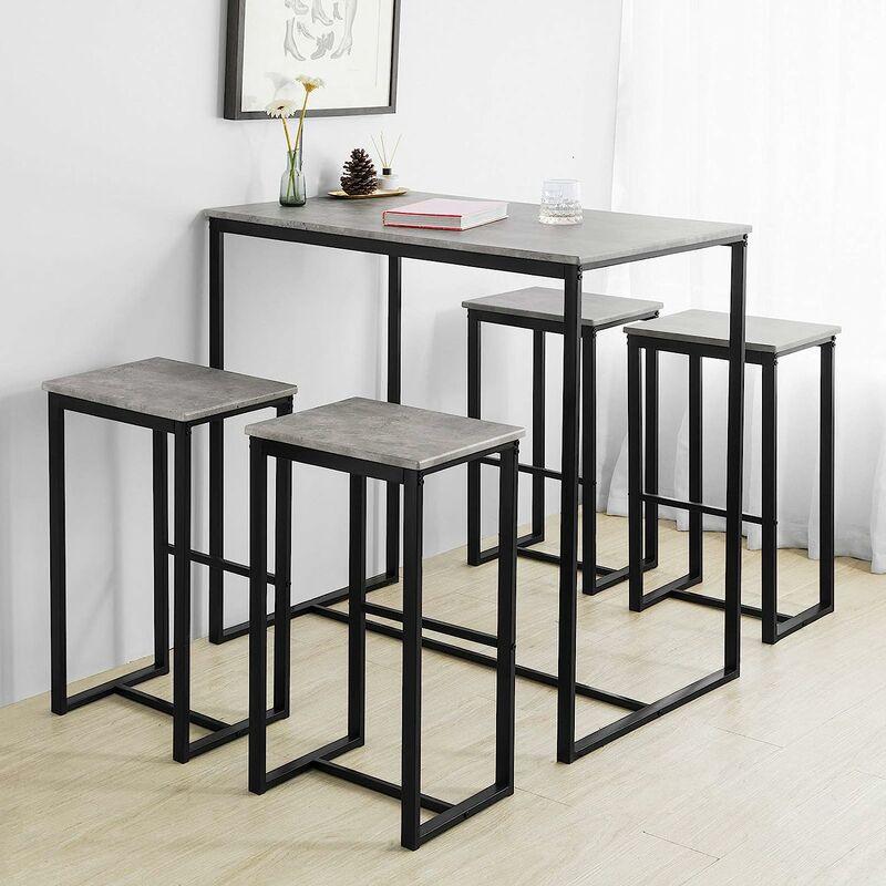 SoBuy OGT15-HG 5-teilig Bartisch mit Stühlen Esstisch Stehtisch Bistrotisch mit 4 Barhocker Sitzgruppe