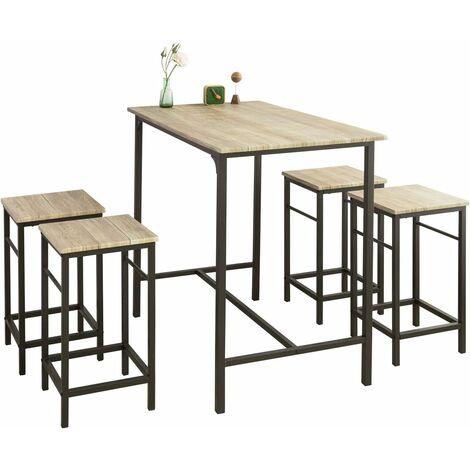 Bistrotisch Mit 4 Stühlen.Sobuy Bartisch Set 5 Teilig Stehtisch Bistrotisch Mit 4