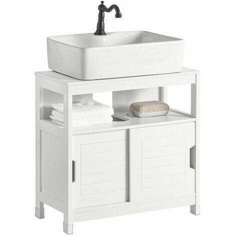 SoBuy Base armadietto a due ante, Armadietto sotto lavabo, bianco,FRG128-W,T