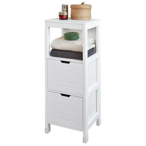 SoBuy Bathroom Storage Cabinet Unit with 1 Shelf and 2 Drawers FRG127-W
