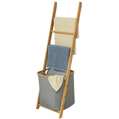 SoBuy Bathroom Storage Shelf Towel Holder with 3 Hanging Rails & Removable Laundry Basket