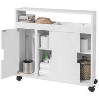 SoBuy Bathroom Toilet Paper Roll Brushes Holders Storage Cabinet BZR02-W