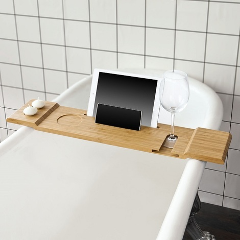 SoBuy Bathtub Rack, Bath Tub Shelf Tray with iPad Min/Mobile Phone,FRG104-N