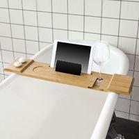 SoBuy Bathtub Rack, Bath Tub Shelf Tray with iPad Min/Mobile Phone,FRG104-N