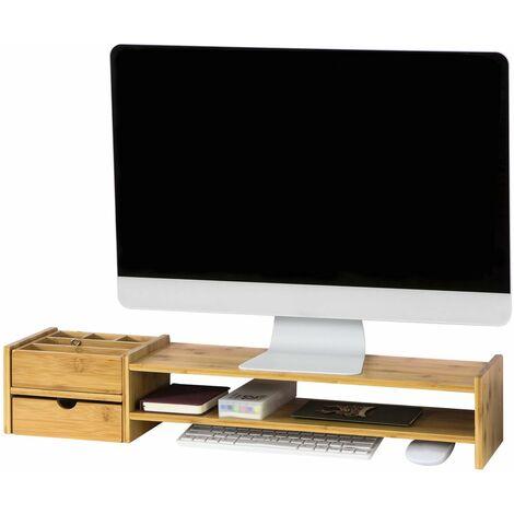 SoBuy BBF01-N Pantalla Soporte para monitor, Soporte de Sobremesa ,bambú,70*13*19 cm,ES