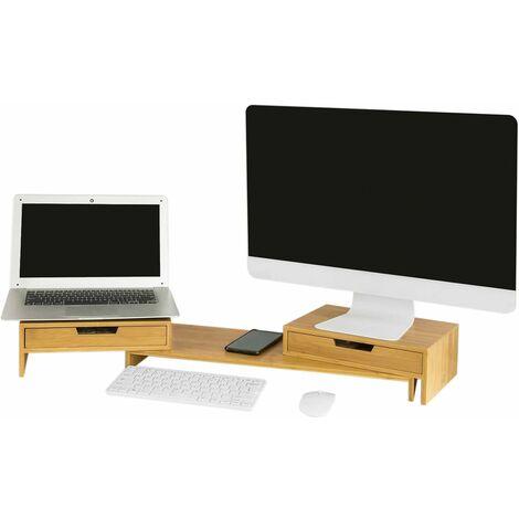SoBuy BBF04-N Design Monitorerhöhung für 2 Monitore Monitorständer Schreibtischaufsatz mit 2 Schubladen breitenverstellbar