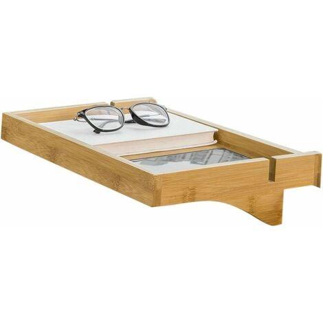 SoBuy Bedside Shelf Clip-on Hanging Shelf Bed Side Shelf Table Tray with 2 Wire Slots, Bamboo,NKD01-N