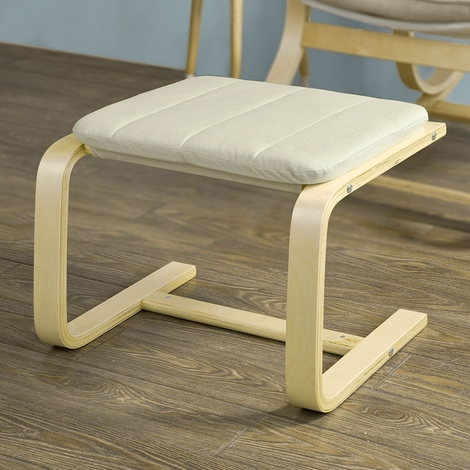 SoBuy Beech Wood Footstool Footrest with Cushion,FST38-W