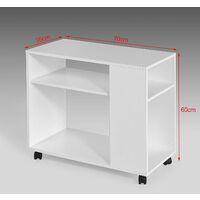 SoBuy Beistelltisch in weiß,Couchtisch,Nachttisch,mit Rollen,FBT34-W