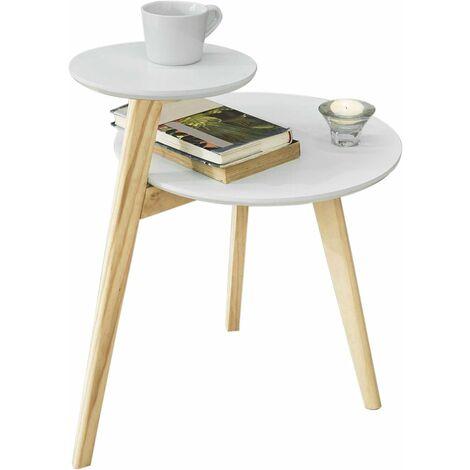 SoBuy Beistelltisch mit 2 Tischplatten Couchtisch,Balkontisch weiß-natur, FBT53-WN