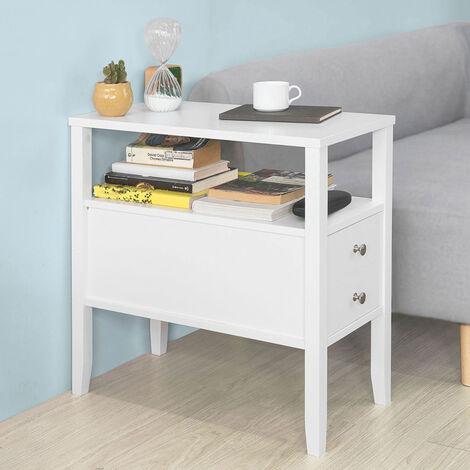 Tafels SoBuy®  Beistelltisch in weiß Zeitungsständer Couchtisch mit Schublade,FBT60-W Meubels