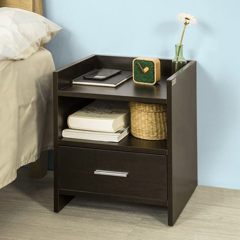 SoBuy Brown Wood Side End Table with Drawer, FBT66-BR