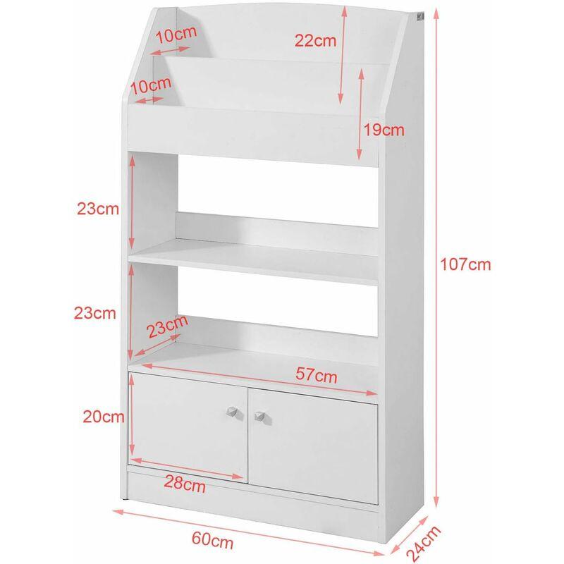 SoBuy Bücherregal kinder Spielzeug aufbewahrung mit 2 Türen weiß KMB11-W