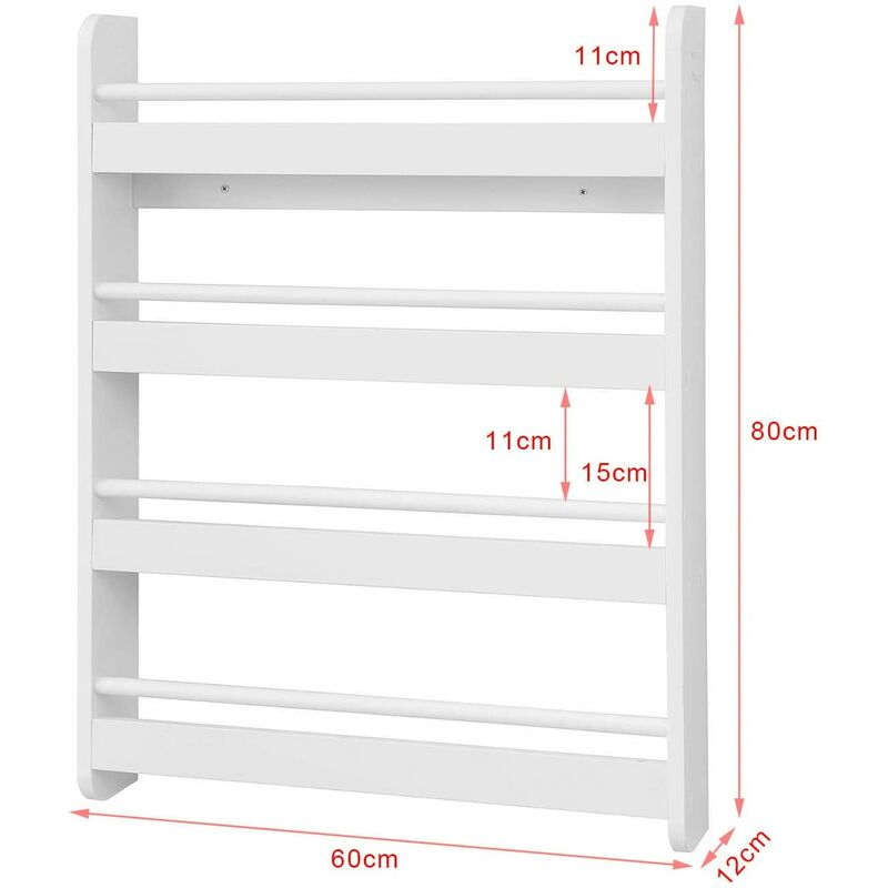 SoBuy Bücherregal Wandregal kinderzimmer Hängeregal BHT 60x80x12cm KMB08-W