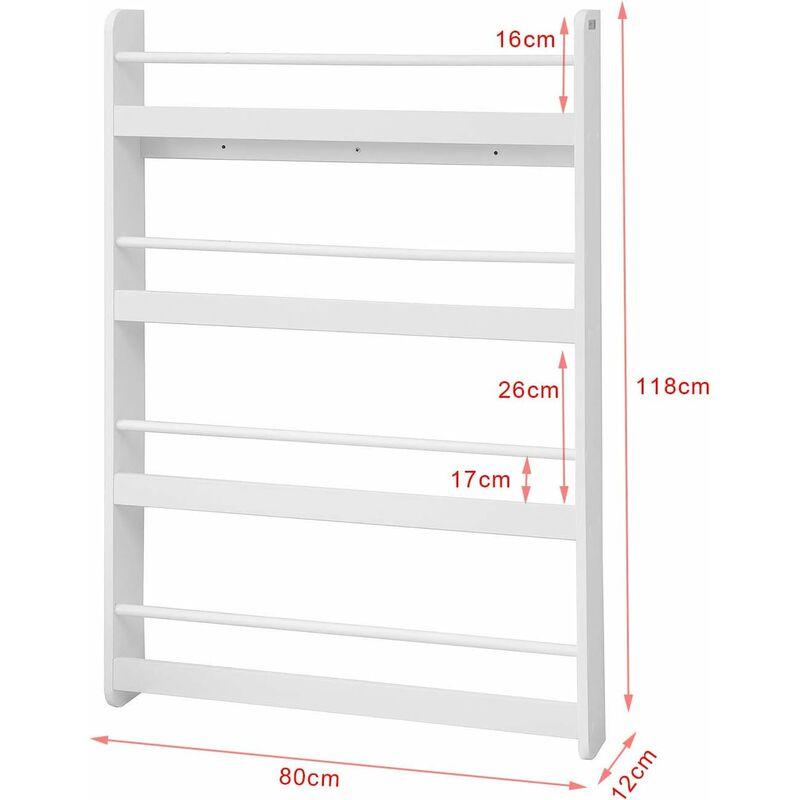 SoBuy Bücherregal Wandregal kinderzimmer Hängeregal BHT 80x118x12cm KMB08-W
