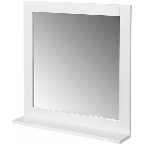 SoBuy BZR16-W Espejo de Pared, Espejo de baño con balda,Blanco,ES