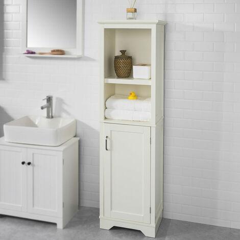 SoBuy BZR28-MI Mueble Columna de baño, Armario Alto baño,155 x 46 x 30 cm,ES