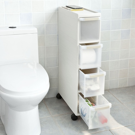FRG41-W,IT SoBuy Carrellino salvaspazio,carrellino per il bagno portaoggetti su rotelle