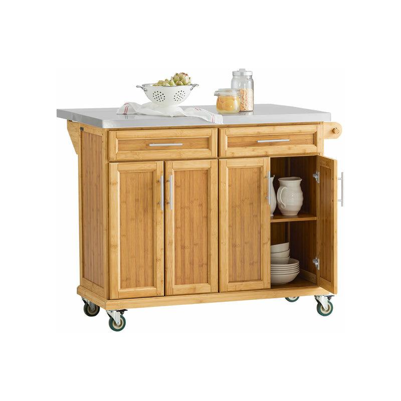 Piano Lavoro Cucina Legno.Sobuy Carrello Cucina Credenza Legno Piano Lavoro Cucina Piano In Acciaio E Allungabile Fkw69 N