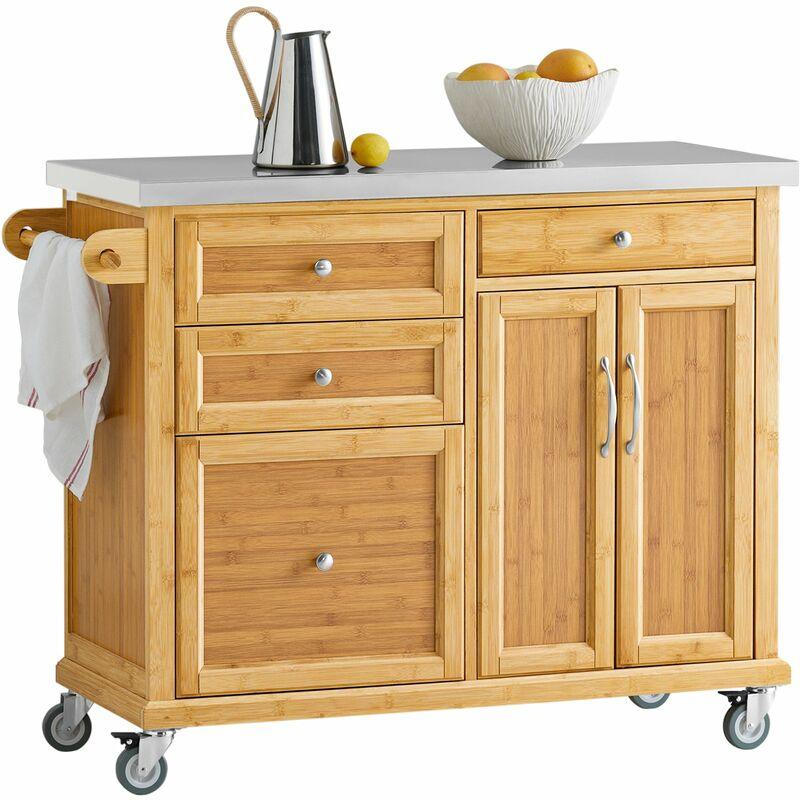 Piano Lavoro Cucina In Legno.Sobuy Carrello Cucina Credenza Legno Piano Lavoro Cucina Piano In Acciaio Fkw70 N