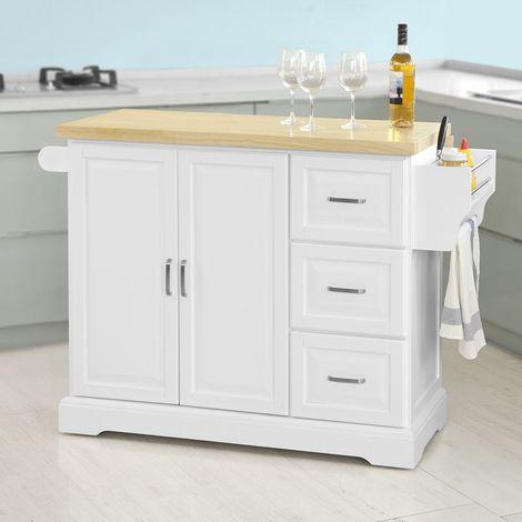 SoBuy Carrello cucina,Credenza,Piano in legno di Hevea è allungabile,con  ruote, FKW41-WN