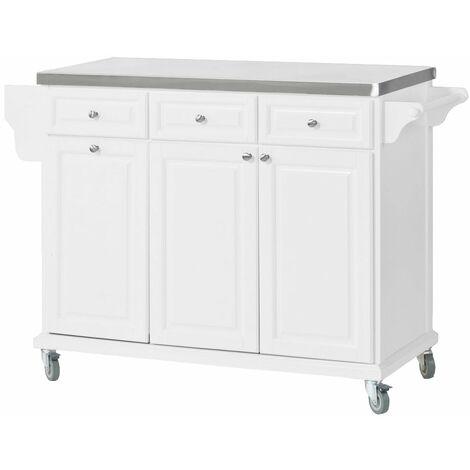 SoBuy Carrello da cucina, credenza, Mobiletto ad angolo,bianco,FKW33-W