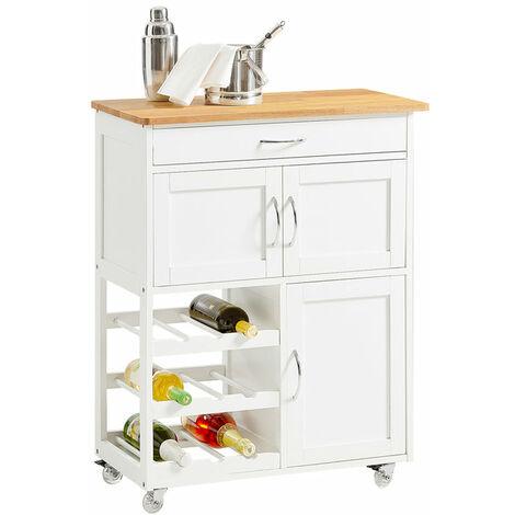 SoBuy Carrello di servizio, Credenza in legno, mobile cucina, bianco ...