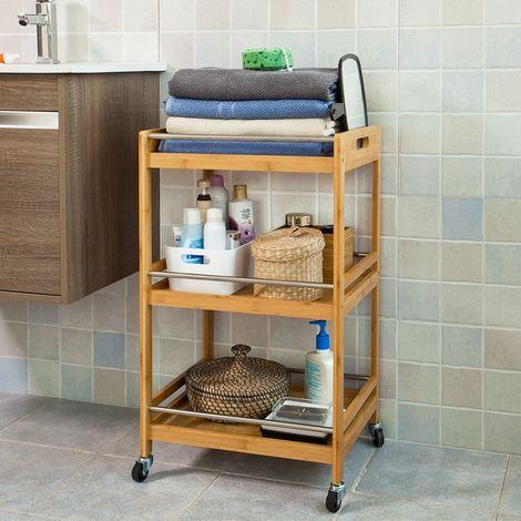 7cdfb1795f8f SoBuy Carrello per il bagno, mensole da bagno, in Bambù(impermeabile), 3  ripiani,FKW15-N,IT