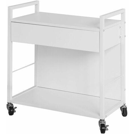 SoBuy® Carrito de cocina, estantería de cocina, carrito movil, blanco, H64 cm, FKW50-W, ES