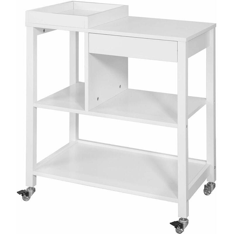 SoBuy® Carrito de cocina, estantería de cocina, mesa auxiliar cocina con 1  bandeja y 1 cajón,FKW58-W, ES