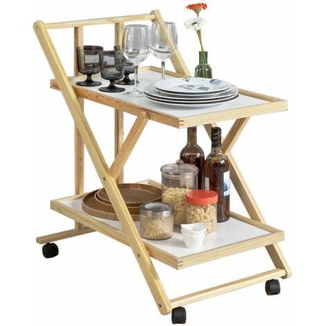 SoBuy® Carrito de cocina plegable , Camarera para bebidas, con 2 bandejas y 4 ruedas, FKW52-WN