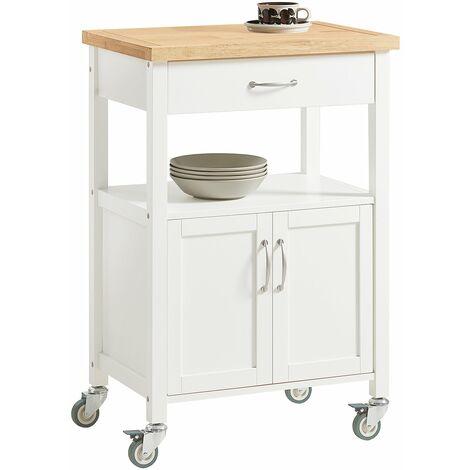 SoBuy® Carrito de servir, estantería de cocina, carrito de cocina móvil, FKW22-SCH