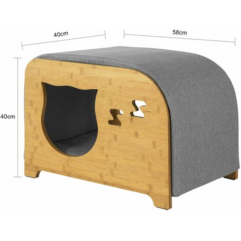 SoBuy Cat House Cat Bed Cat Litter Box Pet House Bench Stool with Cushions,