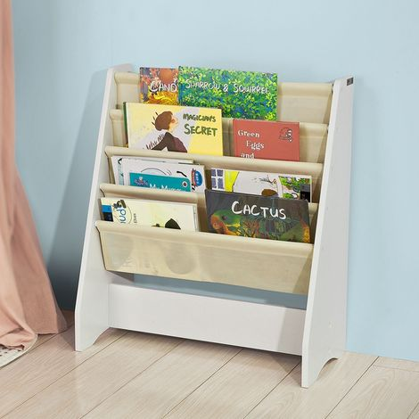 SoBuy Children Kids Bookcase Book Shelf Sling Storage Rack Organizer Display Holde FRG225-W