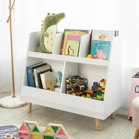 SoBuy Children Kids Bookcase Book Shelf Storage Display Rack Organizer Holder,KMB19-W