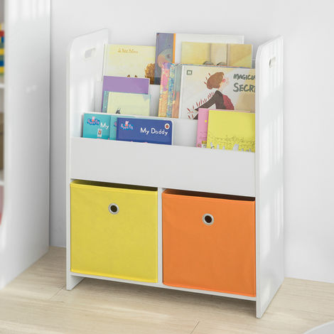 SoBuy Children Kids Bookcase Book Shelf Storage Display Rack Organizer,KMB27-W