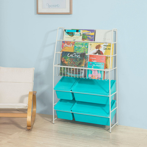 SoBuy Children Kids Bookcase Storage Display Shelving Unit Metal Organization Rack with Plastic Storage Boxes,KMB07-B