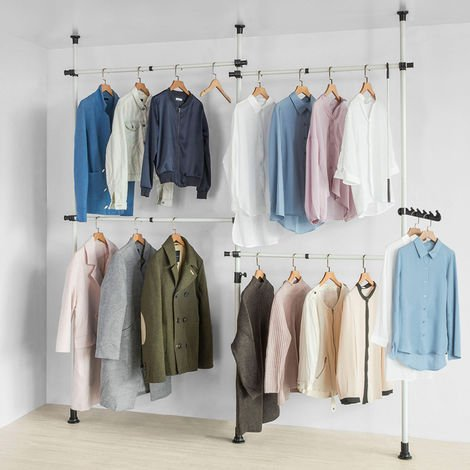"main image of ""SoBuy Clothes Racks Telescopic Wardrobe Organiser Hanging Rail Clothes Storage Shelf,KLS03"""