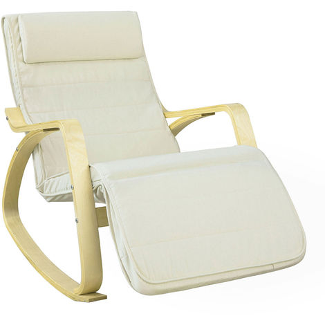 SoBuy Comfortable Relax Rocking Chair Recliner with Beige Foootrest,FST16-W