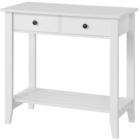 SoBuy Console Table with 2 Drawers and Shelf,W85 x D40 x H80cm,White,FSB04-W