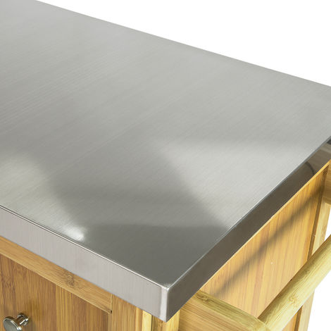 Piano in Acciaio Inossidabile L116*P46*A95 cm FKW81-N SoBuy Credenza Cucina Isola Cucina con Ruote in Legno massello di bamb/ù
