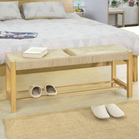 SoBuy Design Schuhbank mit Sitzfläche aus Jute Seil Sitzbank Garderobenbank Bettbank,FSR68-N