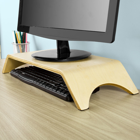 SoBuy Desktop Computer Monitor Stand,Wood Arch Shelf Holder Bracket, FRG98-N