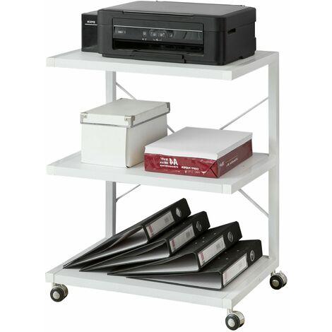 SoBuy Drucker-Rolltisch mit 3 Ablagefächern, Beistelltisch,FRG81-W