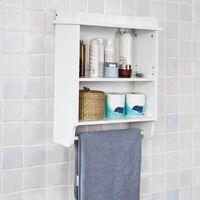 SoBuy® Estante de pared para baño,Armario suspendido con toallero,blanco,L50 x H 60 cm,FRG239-W,ES