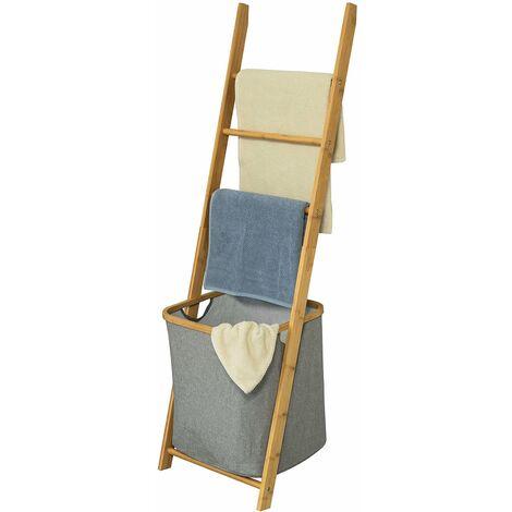 SoBuy® Estantería de baño con cesta y tres toalleros,H140 cm,FRG263-N,ES