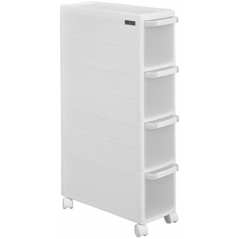 SoBuy® Estantería de cocina, estantería de baño con ruedas, estantería para nichos - 4 cajones, FRG41-W, ES