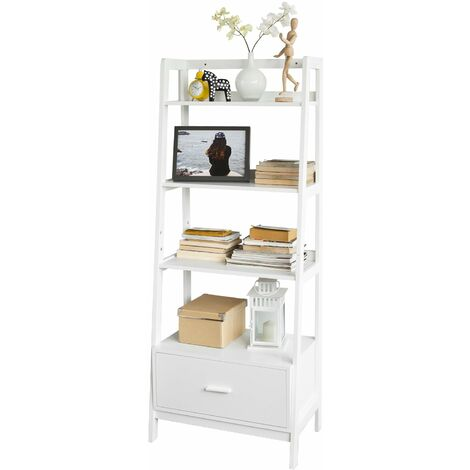 SoBuy® Estanteriá en escalera de madera, Estanterías librerias, Estanterias de diseño, FRG116-W, ES