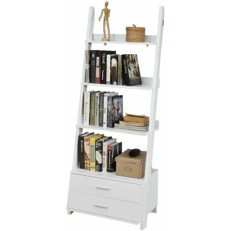 SoBuy® Estanteriá en escalera de pared, Librería , 4 áreas y 2 cajones de almacenamiento, blanco, H171cm, FRG230-W